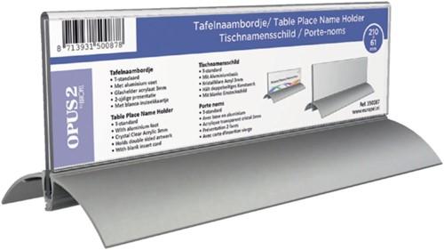 Tafelnaambord OPUS 2 61x210mm acryl aluminium