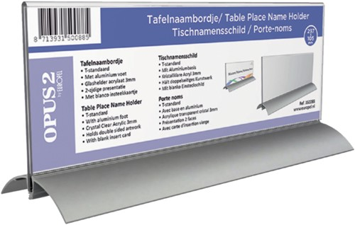 Tafelnaambord OPUS 2 105x297mm acryl aluminium