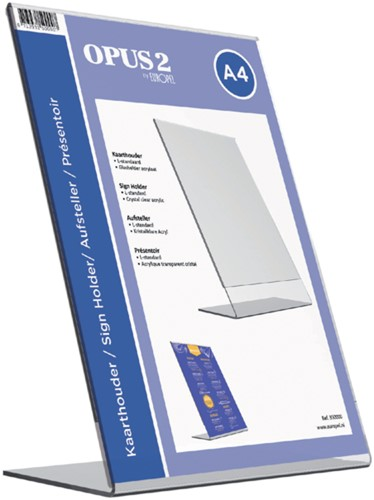 Kaarthouder OPUS 2 L-standaard A4 staand acryl