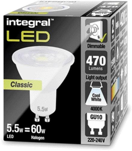 Ledlamp Integral GU10 5,5W 4000K koel licht 470lumen