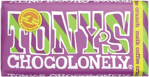 Chocolade Tony's Chocolonely reep 180gr melk coffee crunch