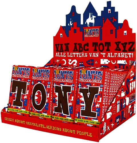 Tony's Chocolonely letterrepen display a 60 stuks alfabet