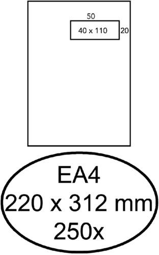 Envelop Hermes akte EA4 220x312mm venster 4x11 rechts zelfkl 250st