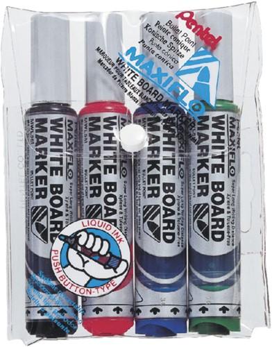 Viltstift Pentel MWL5M Maxiflo whiteboard assorti 3mm 4stuks