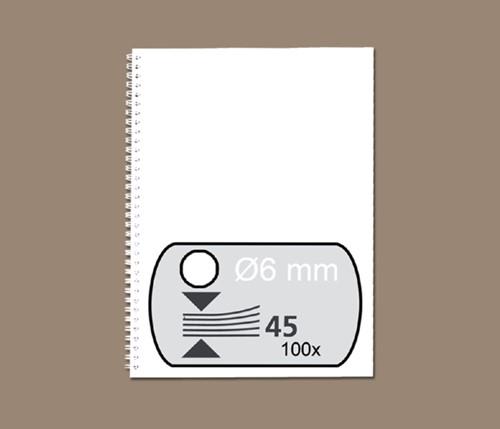 Draadrug GBC 6mm 34-rings A4 wit 100stuks