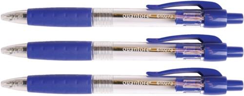 Balpen Quantore Grip drukknop blauw medium