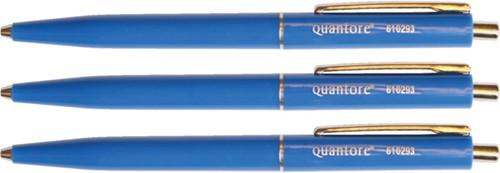 Balpen Quantore drukknop met metalen clip blauw medium